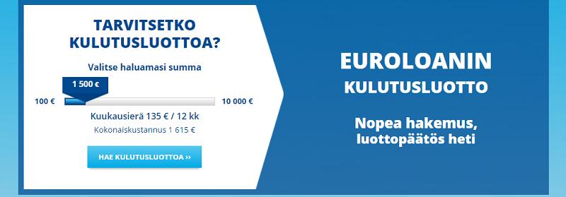 Euroloan kulutusluotto lainaa 100 - 10.000 euroa.