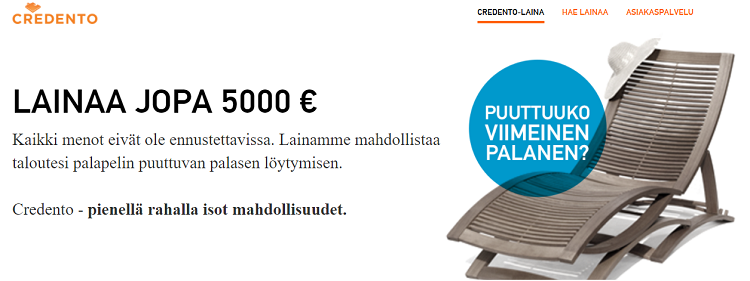 Credento lainaa 1000 - 5000 euroa.