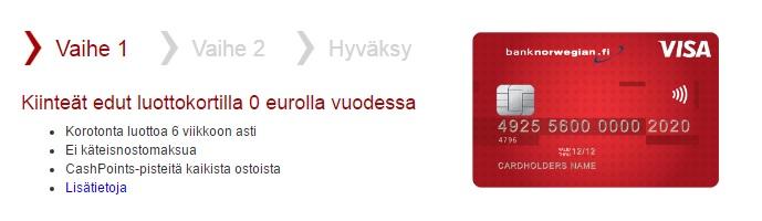 Monta hyvää syytä valita Bank Norwegian luottokortti