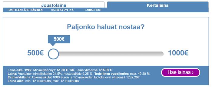 Risicum kulutusluottoa 500 - 1000 euroa.