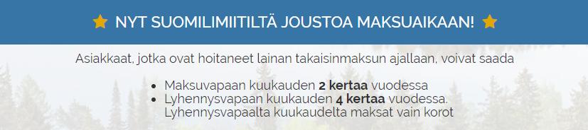 Hae kulutonta lainaa Suomilimiitti.fi palvelusta!