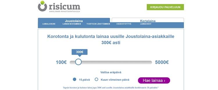 Hae lainaa Risicum.fi palvelusta!