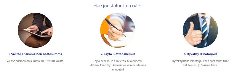 Hae maksuttomalla hakemuksella Joustoluotto.fi Vippi.fi palvelusta.
