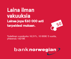 Bank Norwegian laina 1000-60000 euroa