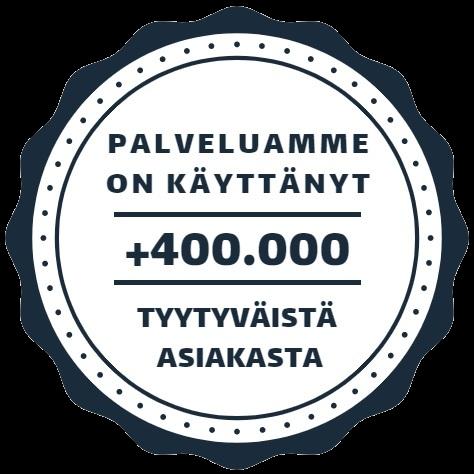 Palvelua on käyttänyt yli 400.000 tyytyväistä asiakasta