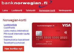 Bank Norwegian Visa luottokortti