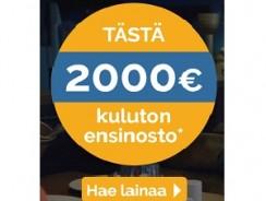 Suomilimiitiltä nyt jopa 2000€ ensinosto ilman kuluja!